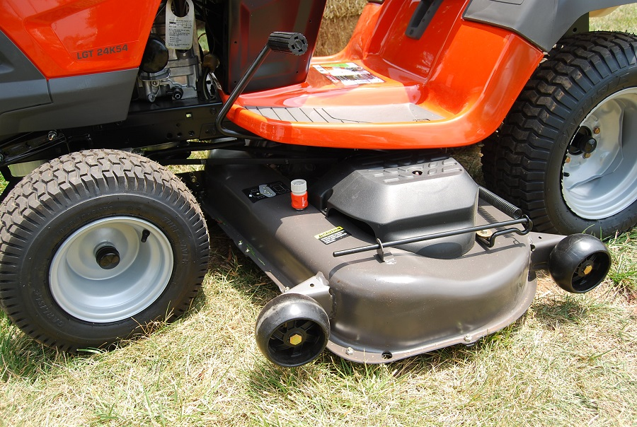 How to adjust belt tension on a Husqvarna riding lawnmower, step by step 1