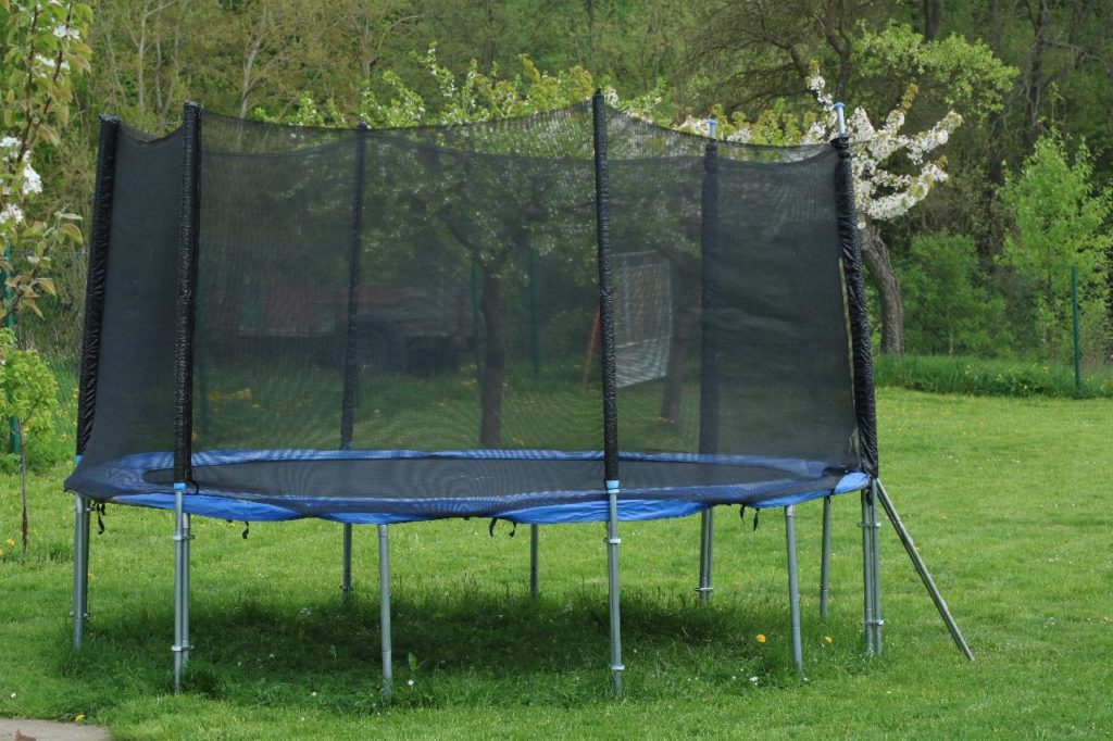 Mowing Under Trampoline, this is the best way to do it 1